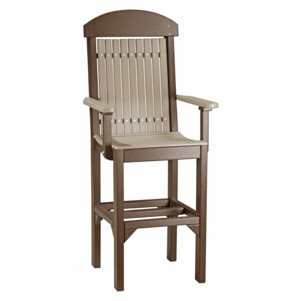 Classic Captain Bar Chair - Weatherwood & Chestnut Brown
