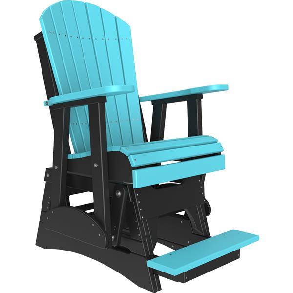 Single Adirondack Balcony Glider - Aruba Blue & Black