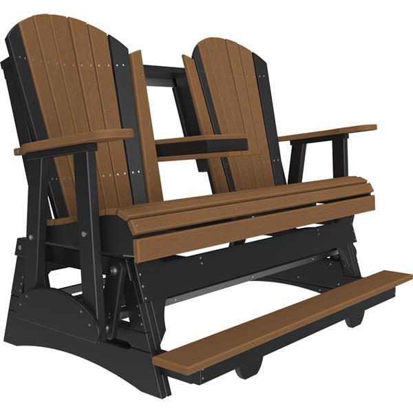 Triple Adirondack Balcony Glider - Antique Mahogany & Black