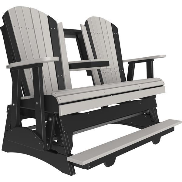 Triple Adirondack Balcony Glider - Dove Grey & Black