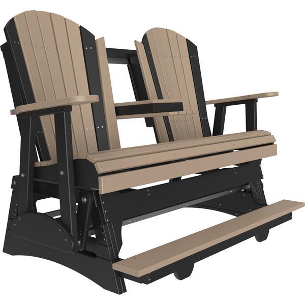 Triple Adirondack Balcony Glider - Weatherwood & Black