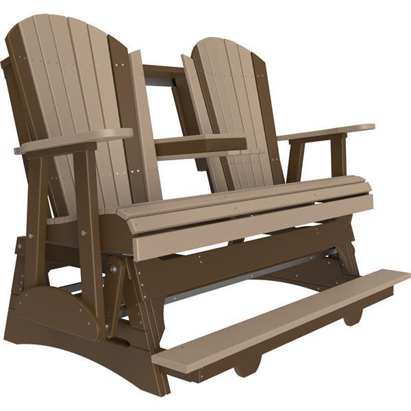 Triple Adirondack Balcony Glider - Weatherwood & Chestnut Brown